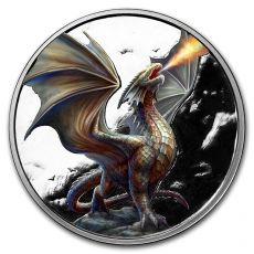 Stříbrná mince Anne Stokes Draci (Noble Dragon) color