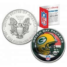 GREEN BAY PACKERS 1 Oz American Silver Eagle $ 1 US Color Colour - NFL LICENSED
